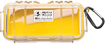 Pelican 1030 Microcase - Clear with Yellow