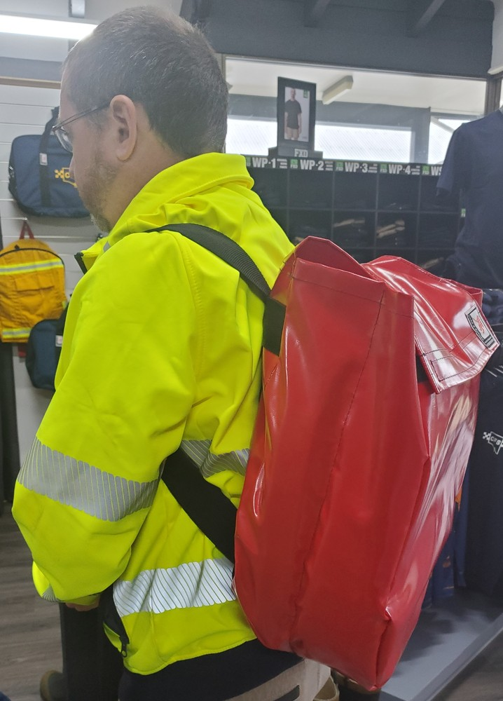 Red Layflat Hose Backpack - for two hoses