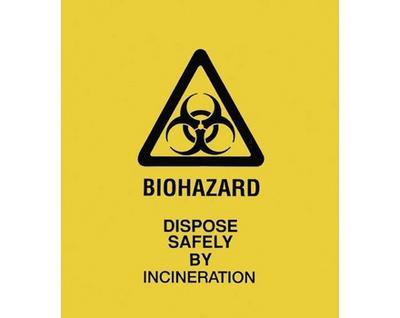 Bio Hazard Bag Print XL Yellow  75cm x 86cm