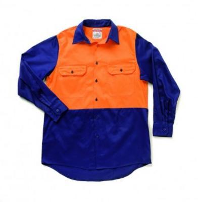 Two Tone Blue and Orange 100% Cotton Shirt