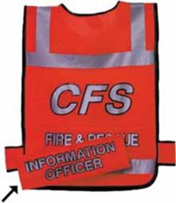 Orange Dayglo Tabard w-FIRE & RESCUE Printed Front & Back