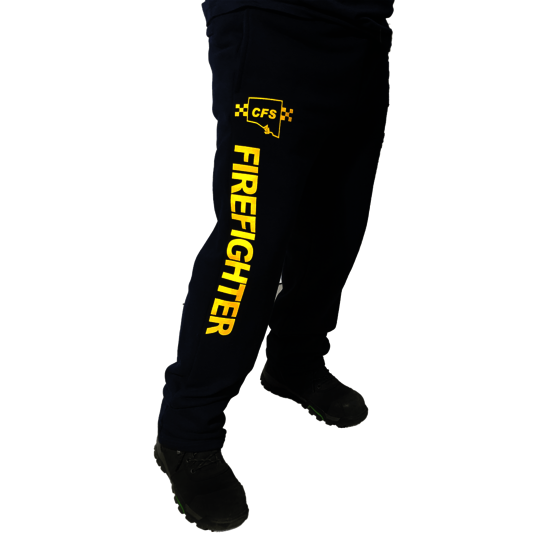 CFS Navy Track Pant with FIREFIGHTER down Right Leg In Gold