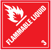 Flammable Liquid Class 3 - 300mm x 300mm Metal - Red