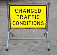 Reflective Flexi Sign #1 - Traffic Hazard Ahead 600mm x 900mm