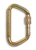 CMC Steel Locking D Carabiner 72kN - Screw Gate - Gold